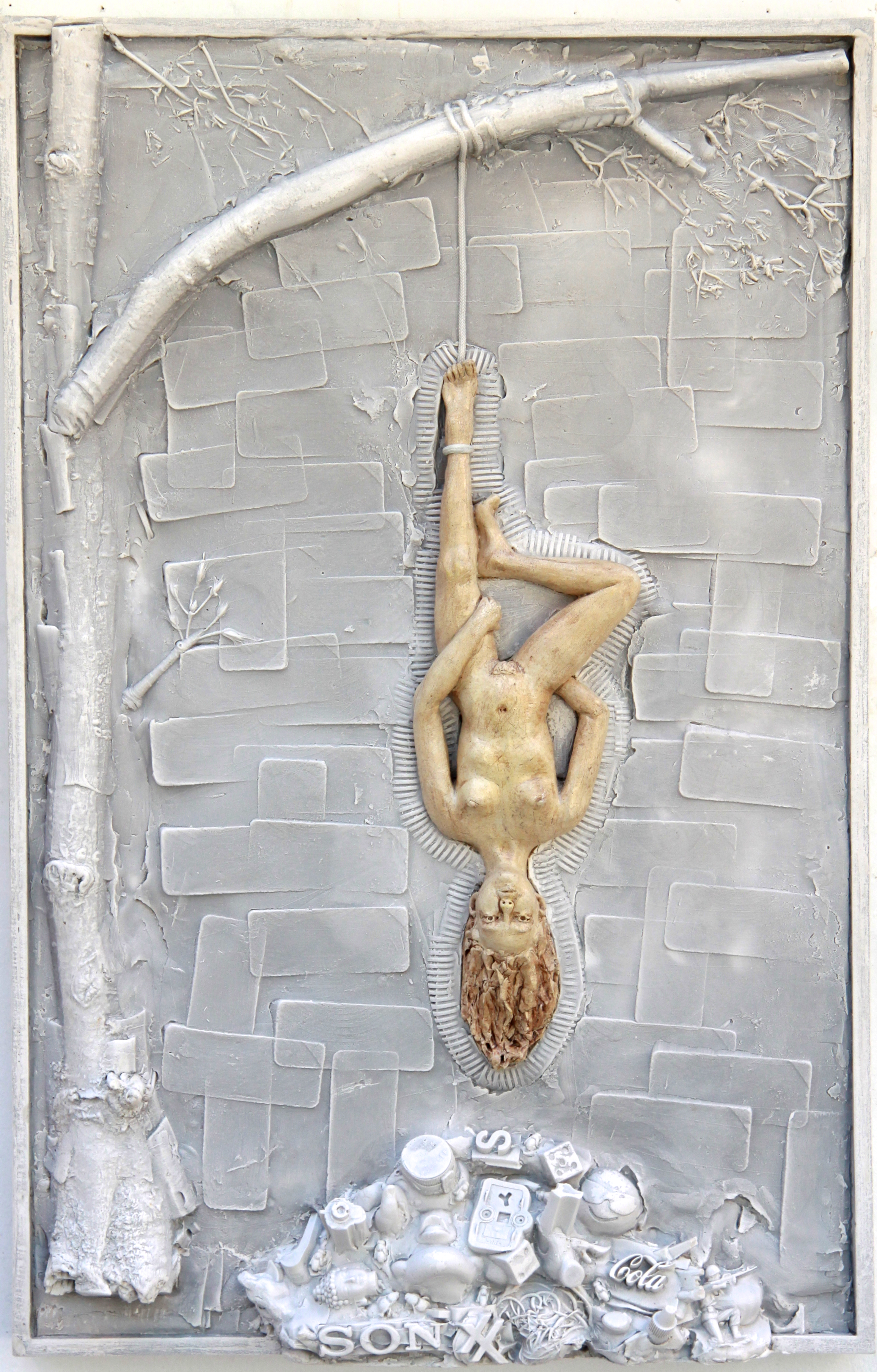 "Hanged Man (Woman)   Carrara marble and hydrocal, 28""x18""x4"" wall relief art, 2017"