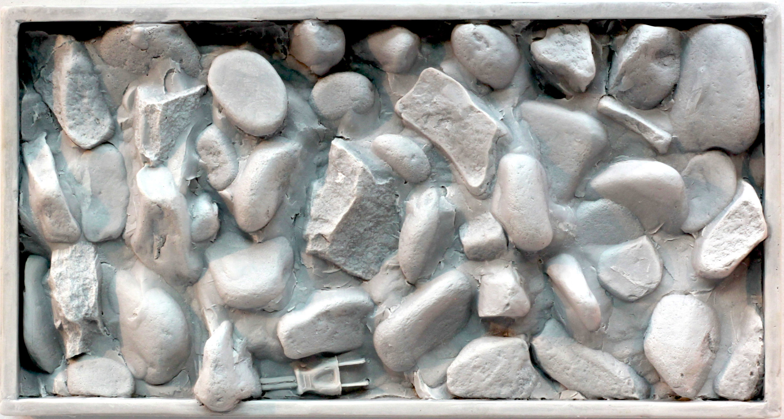 "Cscape #54 Rocks (Study) with plug, 9"" x 17"" x 3"", hydrocal and Carrara marble, 2017"