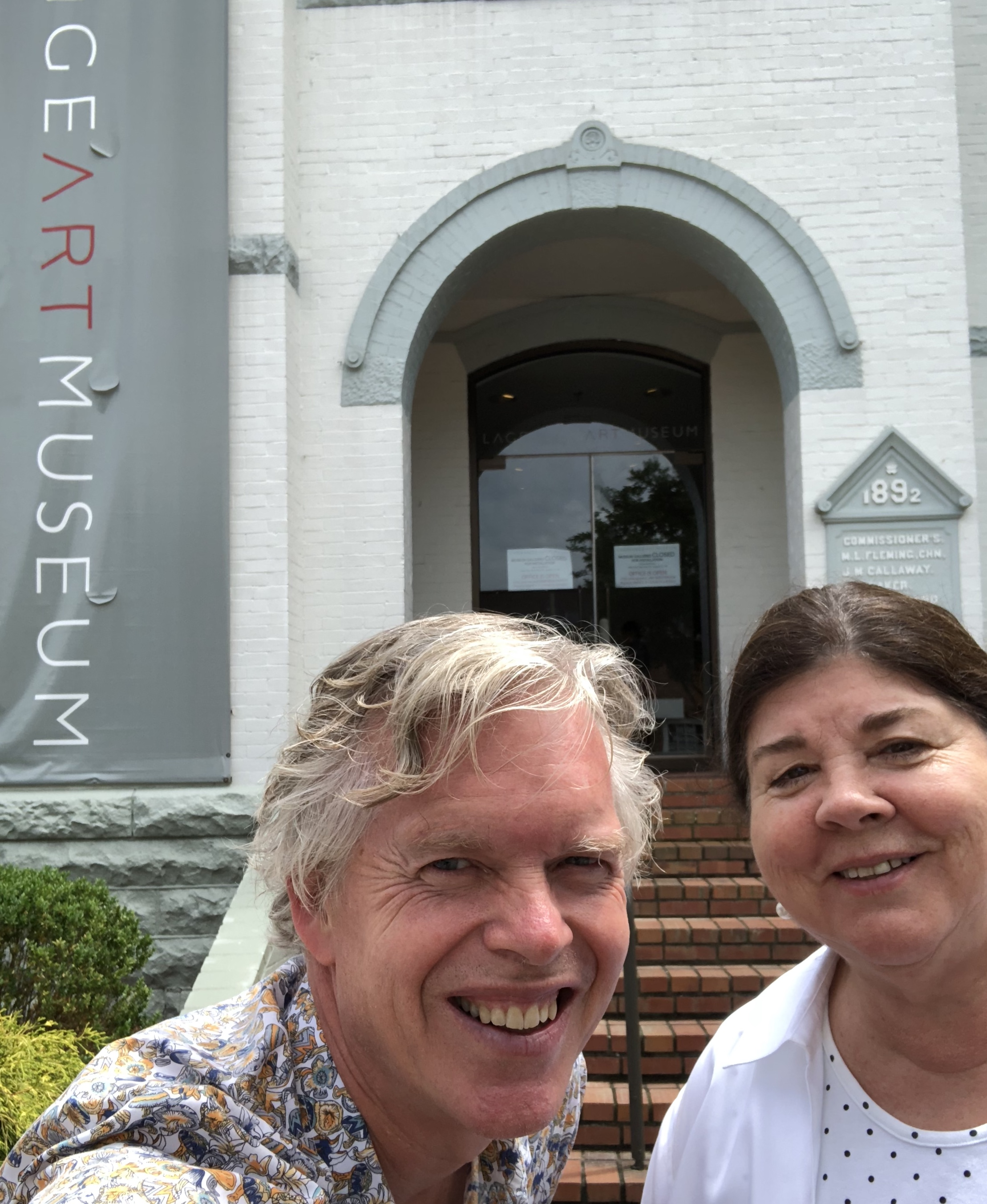Bob with Laura Jenning, Executive Director of LaGrange Art Museum, on a pre-planning trip this May, LaGrange, GA