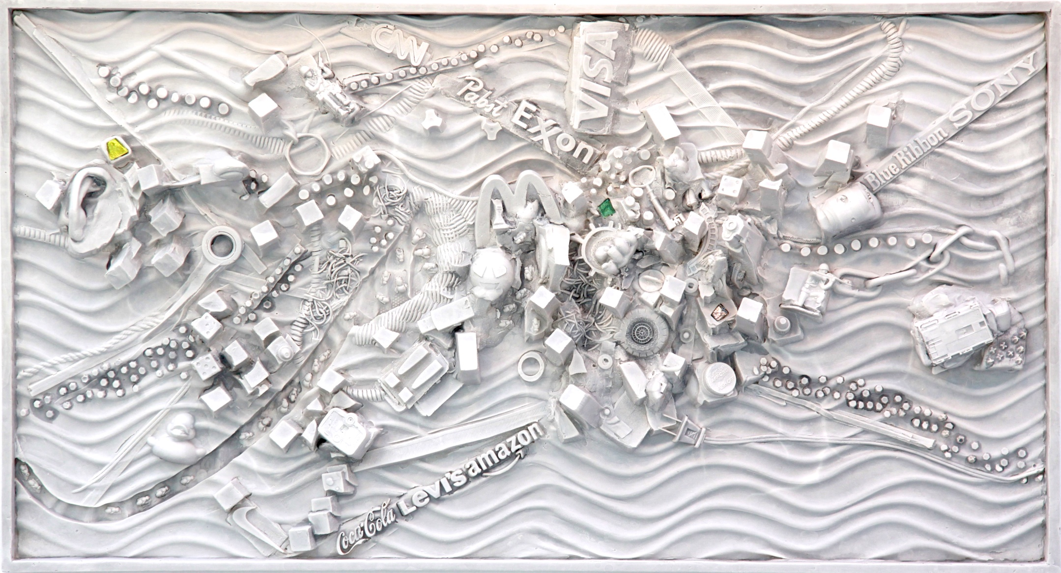 Cscape #48, (Rhizome), 21 x 36, plaster, Carrara marble wall relief, $5,000