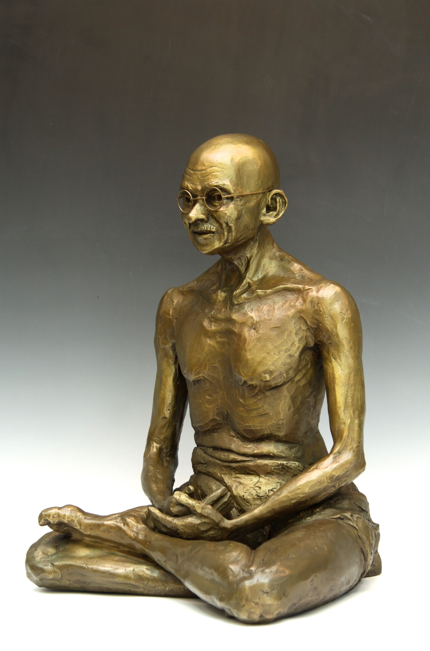 "Gandhi, bronze edition of 9, 19""H x 13""W x 12""D, $6,000."