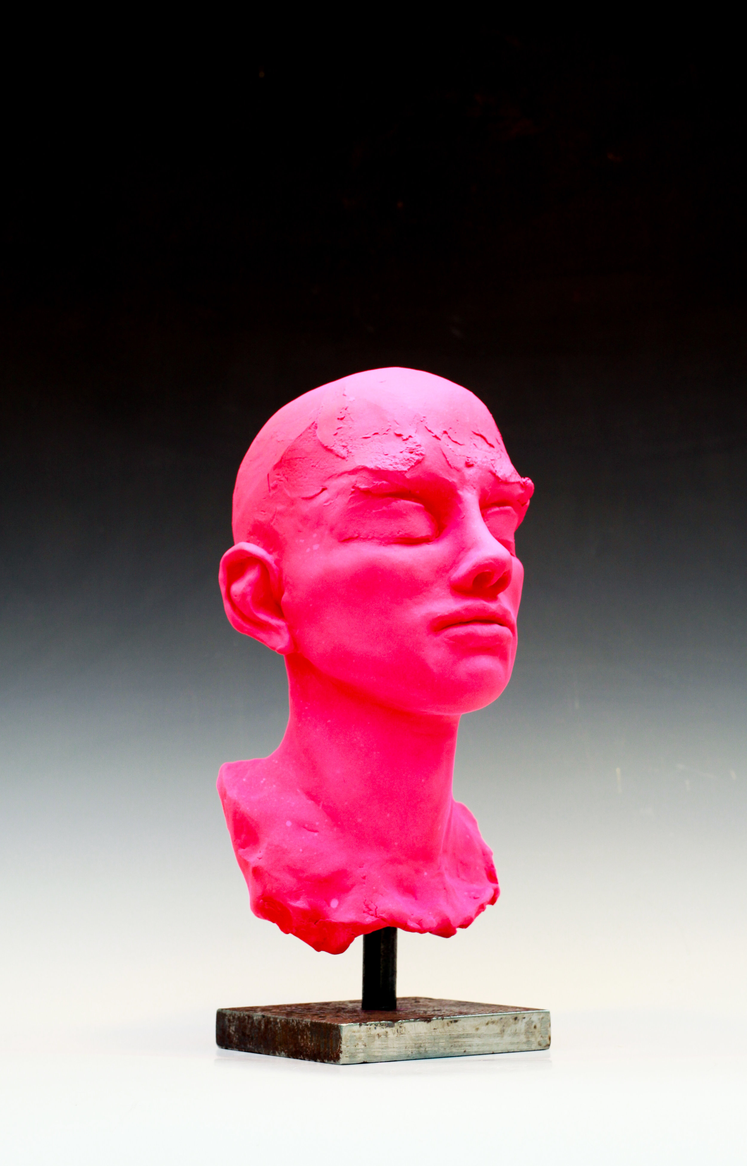 "Man's Head- Pink- study-12""H"