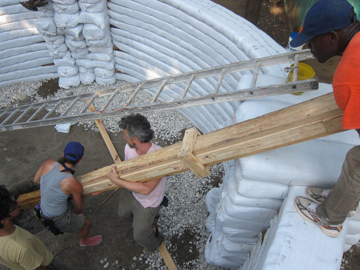 Working on the Konbit Shelter project in Comiers, Haiti 2013