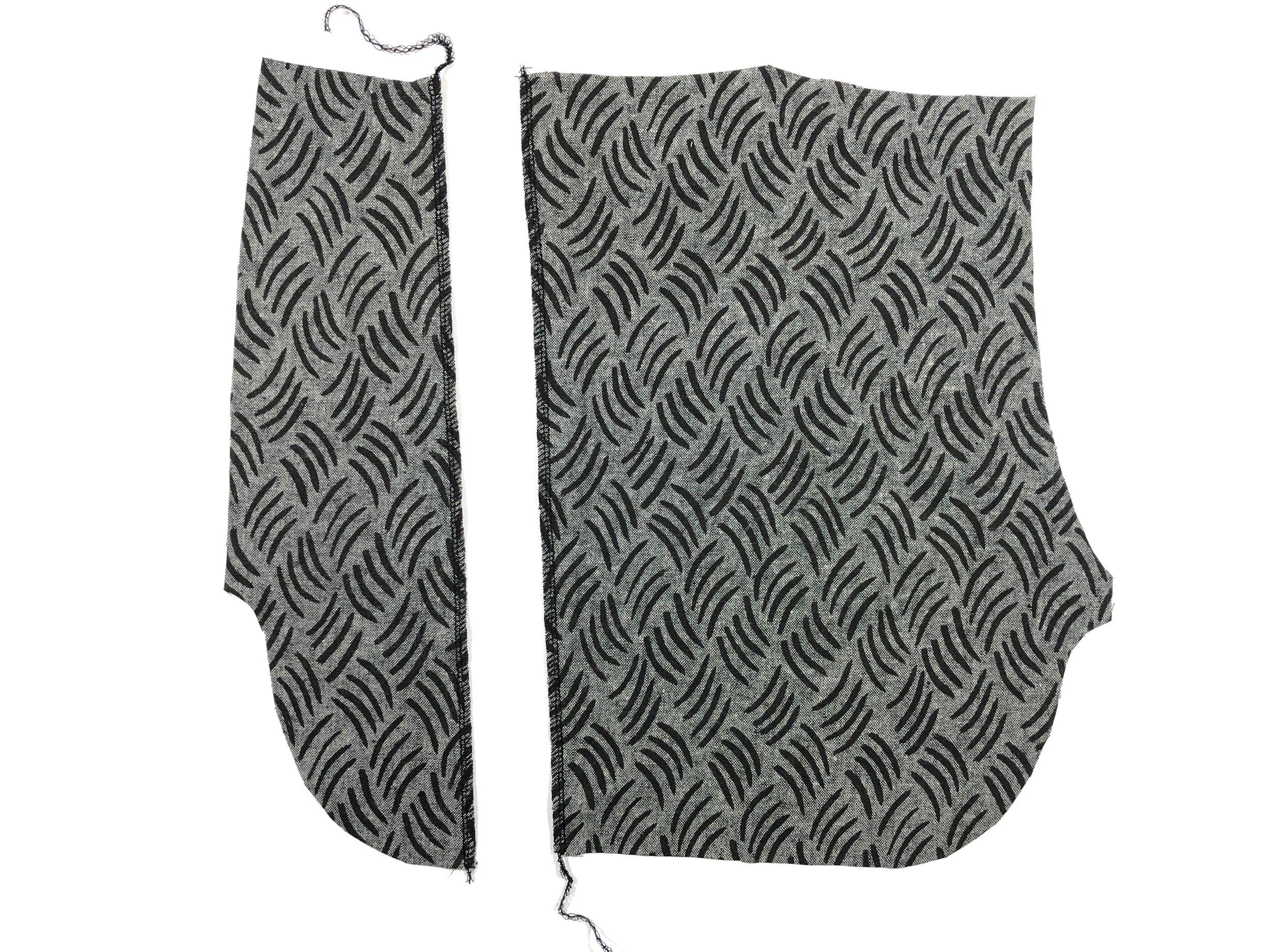 3. Serge/finish zipper opening on right pocket bag.