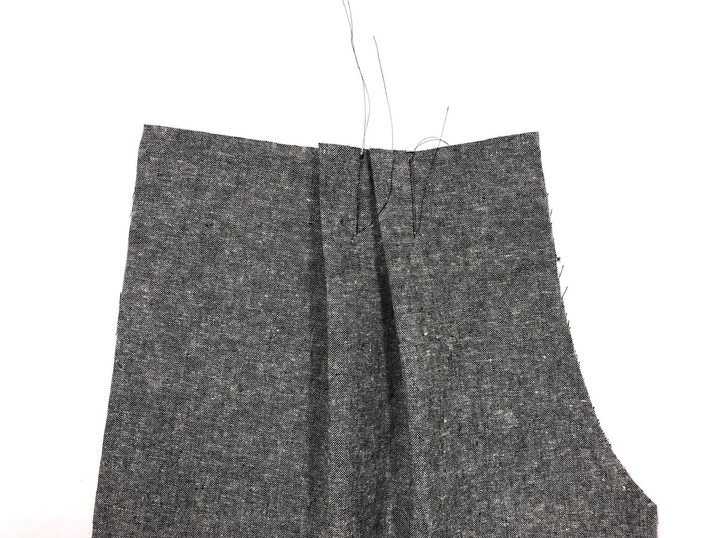 6. Stitch front pleats from notches to dot marks, and press toward the center front.