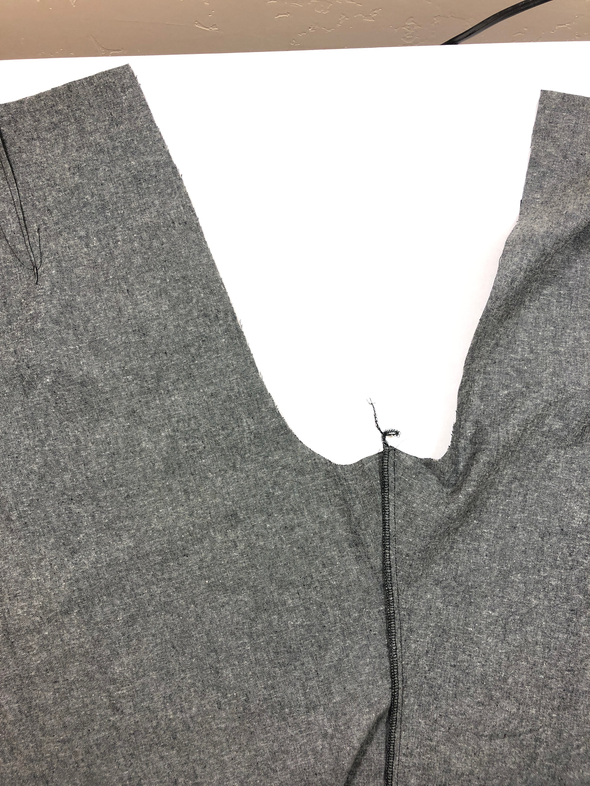 23. Serge/finish this seam, and press it towards the back pant leg.