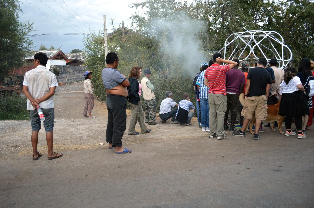Crowd gathers for Nature God Ritual // Photo: Naima Fine