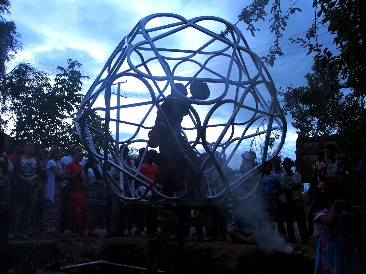 WuZhimi performs Tiger Dance inside Orb // Photo: Miranda Hill