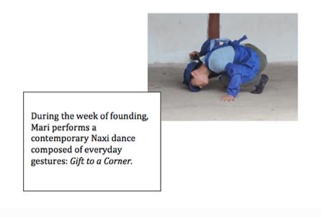在'创建'周里,Mari 跳了一段由日常举动形成的纳西现代舞蹈:给角落的礼物 Gift to a Corner
