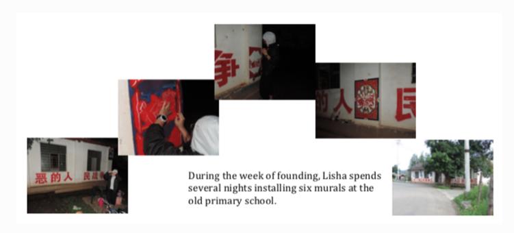 在'创建'周里,Lisha 花了几晚,在学校(old primary school)里画上六幅壁画。
