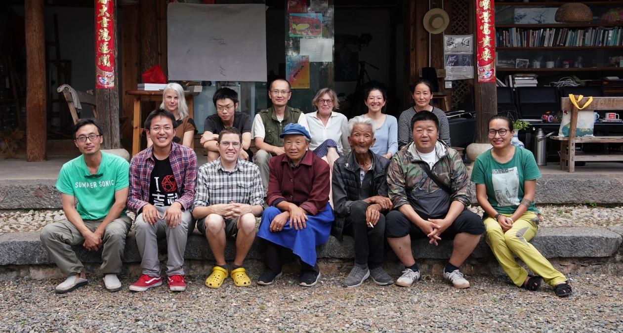 Three Village Meeting, 8th June 2019 with, 1st row from left: Yang Qing, He Jixing, Jay Brown, He Shufen, He Shiyuan, Li Chunping, Chen Wanrong; 2nd row: Selena Kimball, Bob,Zhu Ming, Petra Johnson, Kitamari, He Xuemei.