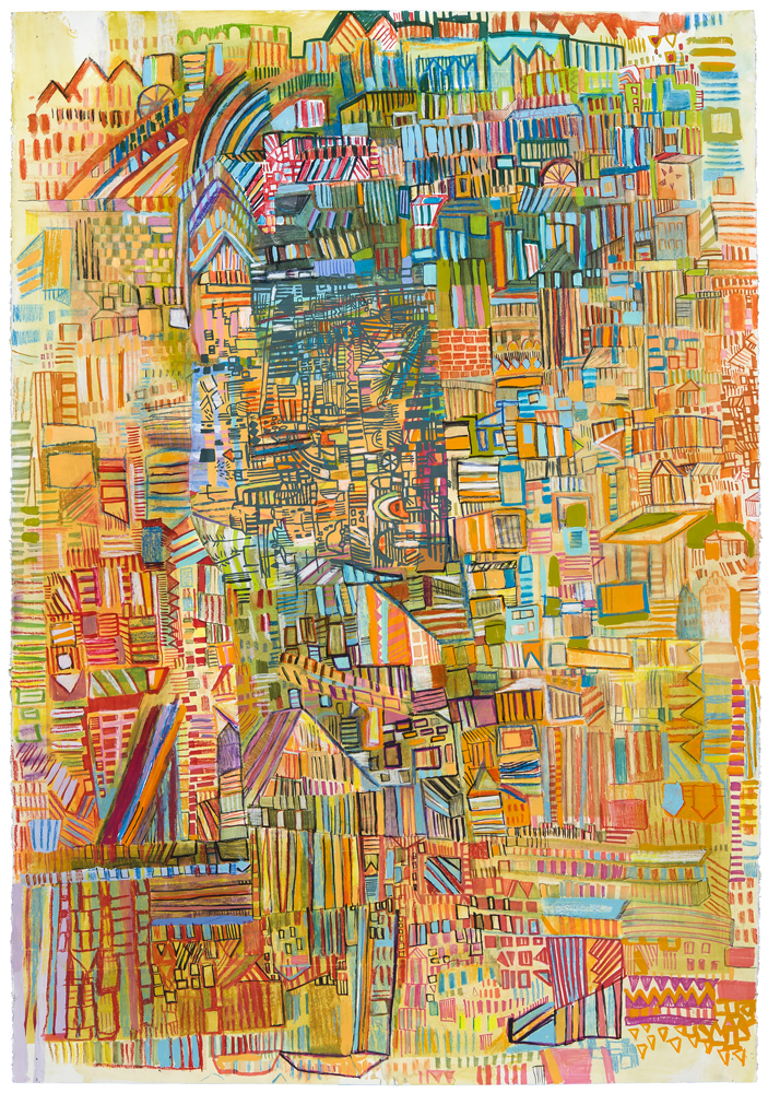 "park rail | pencil, marker, silkscreen, monotype, and acrylic on paper | 44"" x 31"" 