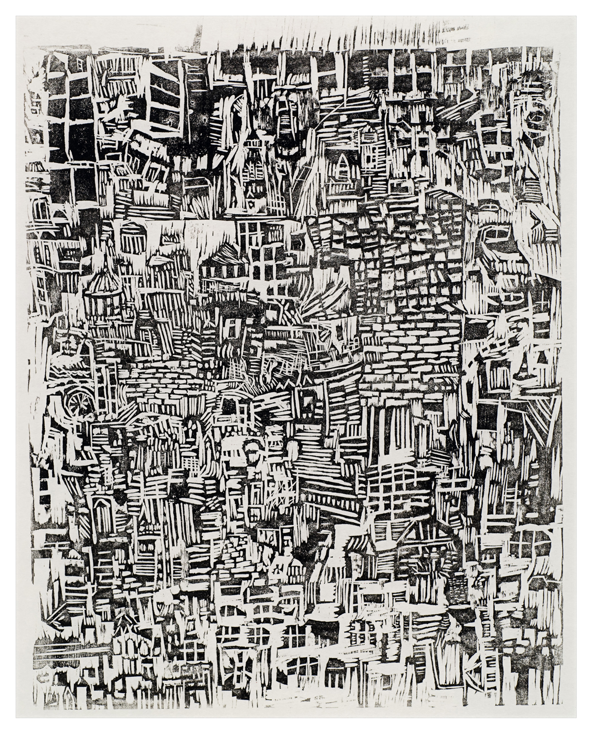"dense block | woodblock relief print on rice paper | 20"" x 15"" 
