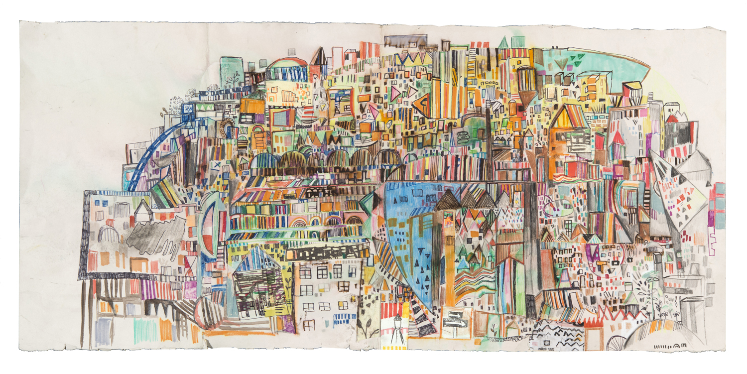 "long days | pencil, marker, watercolor, and print collage on paper | 14"" x 30"" 