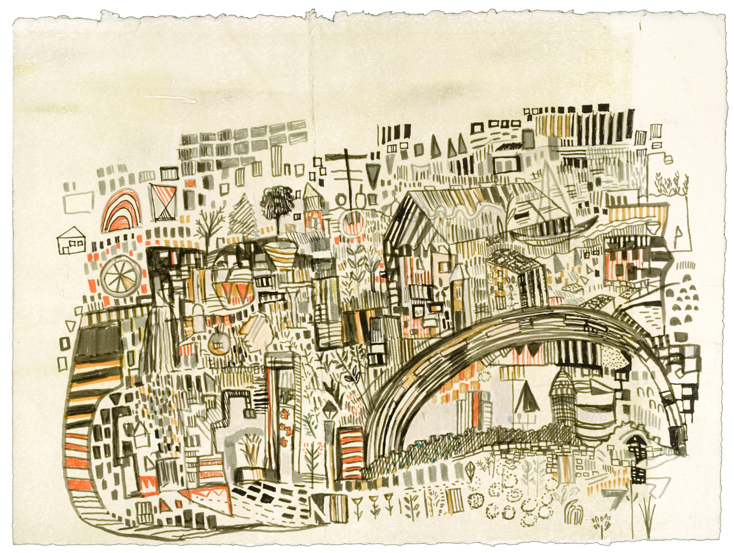 "bridge route | pencil, marker, monotype on paper | 11"" x 14"" 