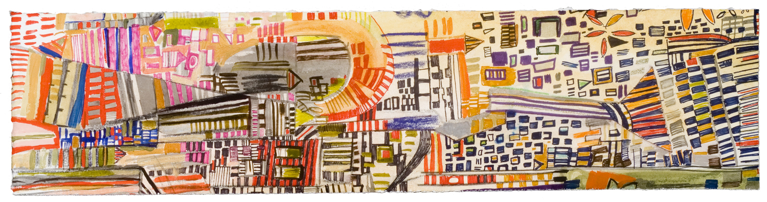 "Waiting Around Map 2 | pencil, marker, acrylic, monotype on paper | 5"" x 20"" 
