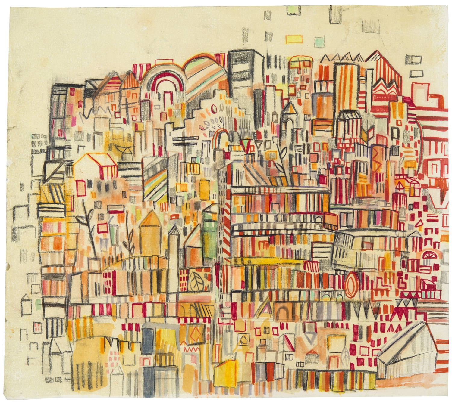 "orange 33rd St | pencil, marker, and monotype on paper | 13"" x 15"" 