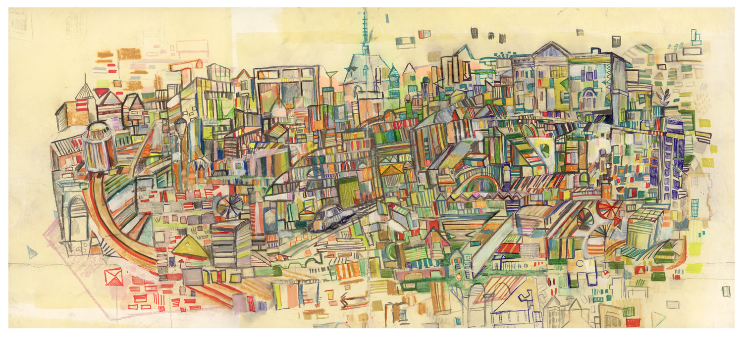 "36 St imaginary map | pencil, marker, and monotype on paper | 14"" x 30"" 