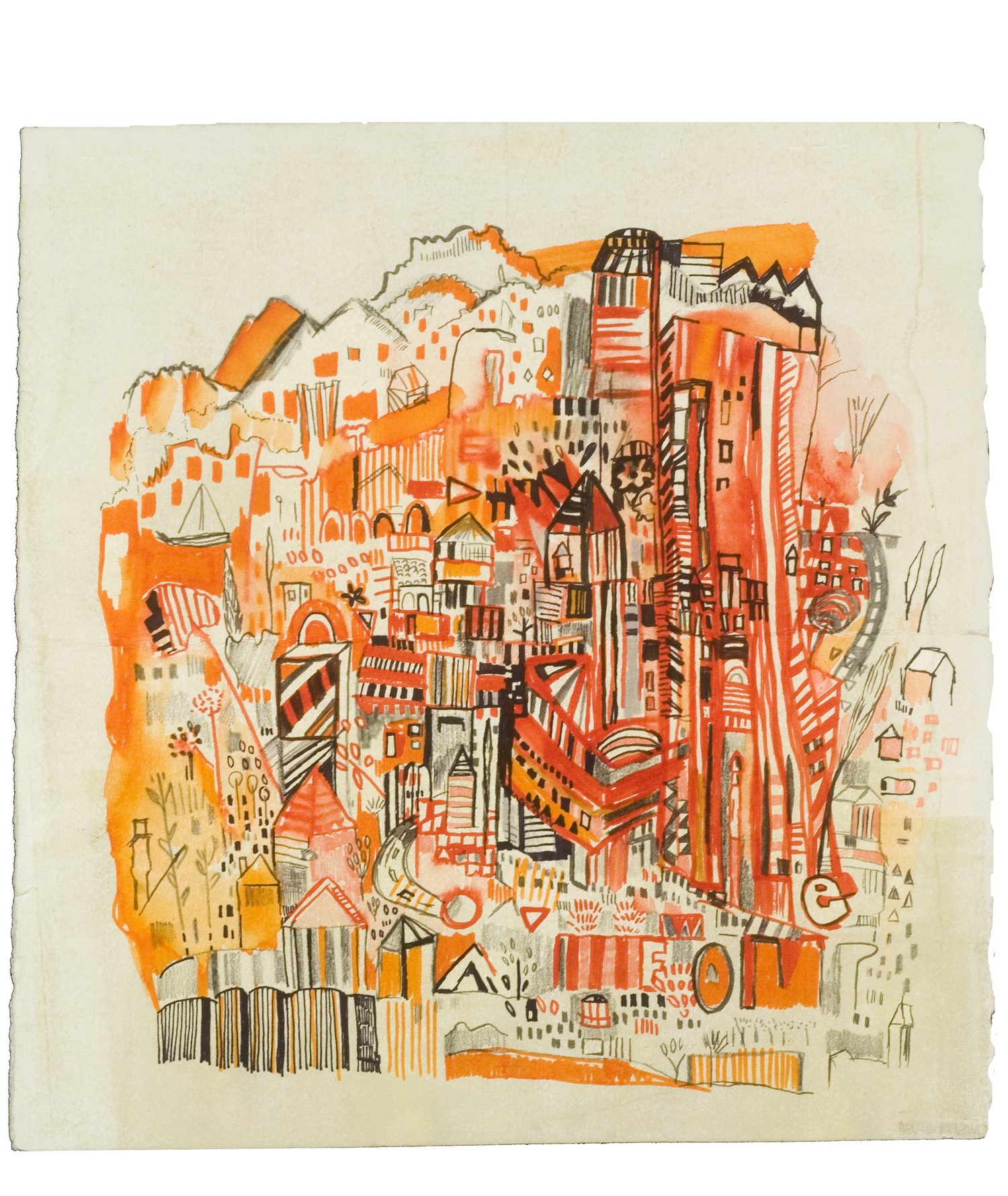 "orange and red hill 2 | pencil, marker, watercolor on paper | 12"" x 13"" 