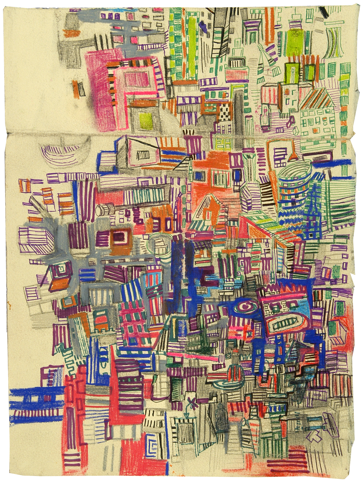 "Imaginary Map 6 | Pencil, marker, and ink on paper | 12"" x 7"" 
