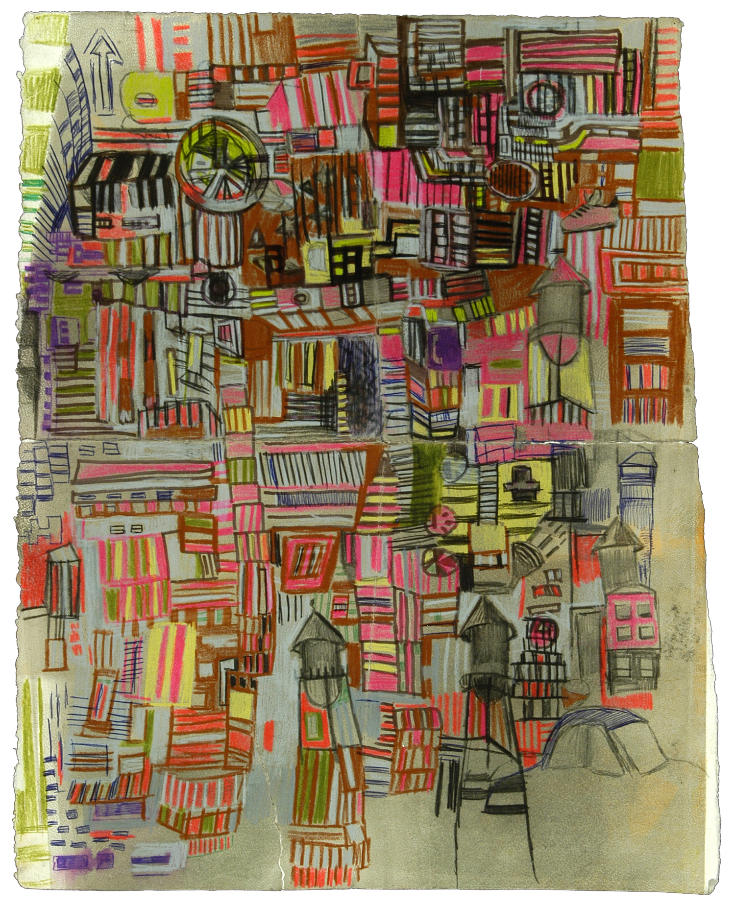 "11th and Callowhill  | Pencil, marker, and ink on paper | 12"" x 7"" 