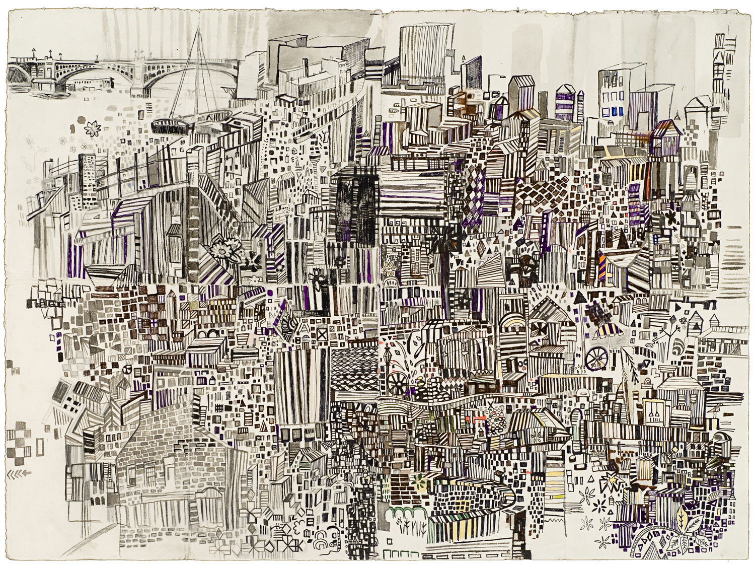 "Built Up 2 | Pencil, marker, monotype on paper | 22"" x 30"" 