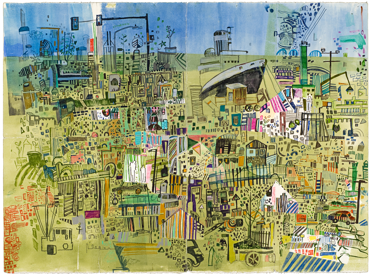 "Columbus Ave Map  | Pencil, marker, and monotype on paper | 22"" x 30"" 