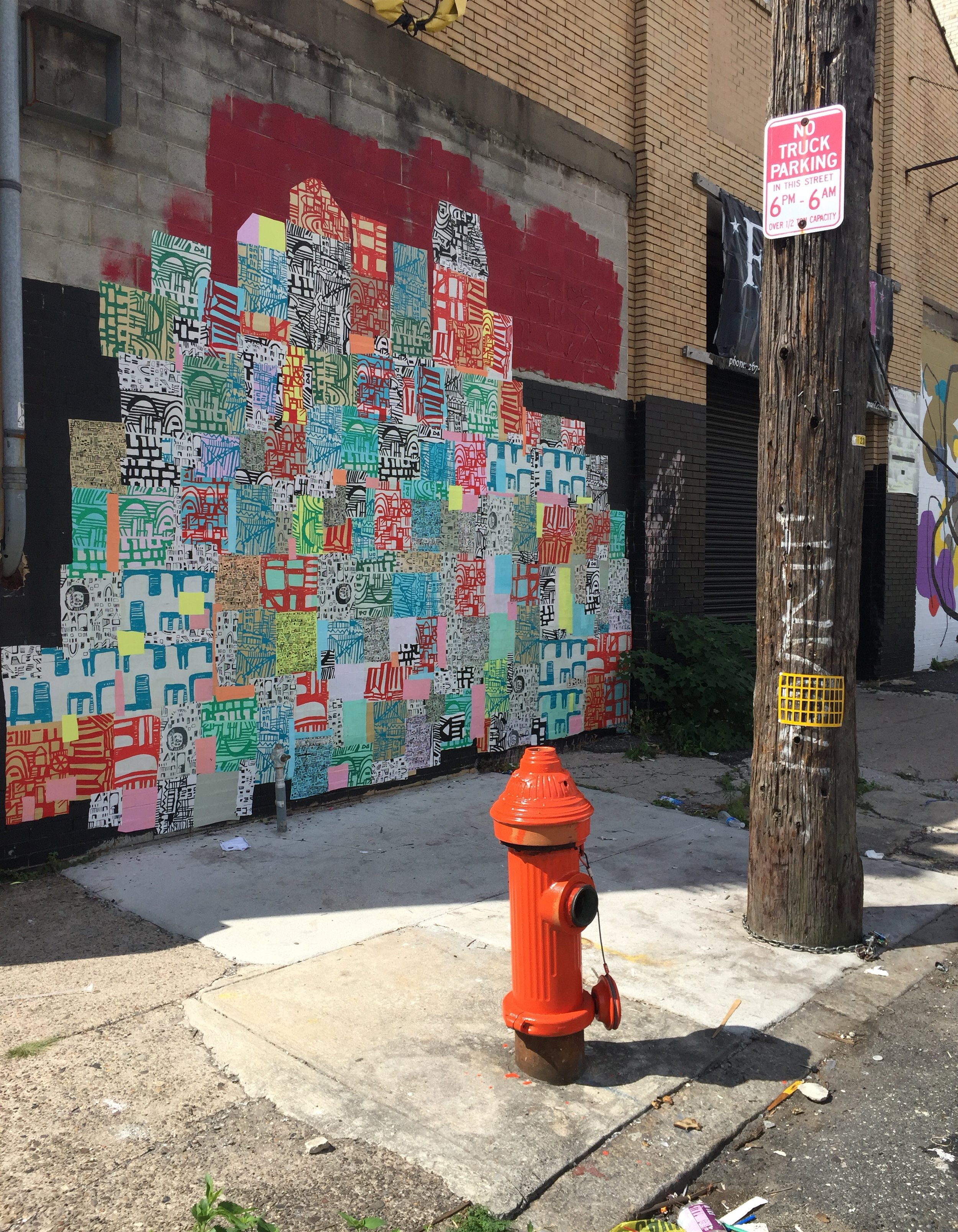Spring Arts District  Located on the wall of a boxing gym, Fight Firm.  1016 Buttonwood St., Philadelphia. August 2016-February 2017 Opening reception in 990 Spring Garden; October 8th 6-9pm
