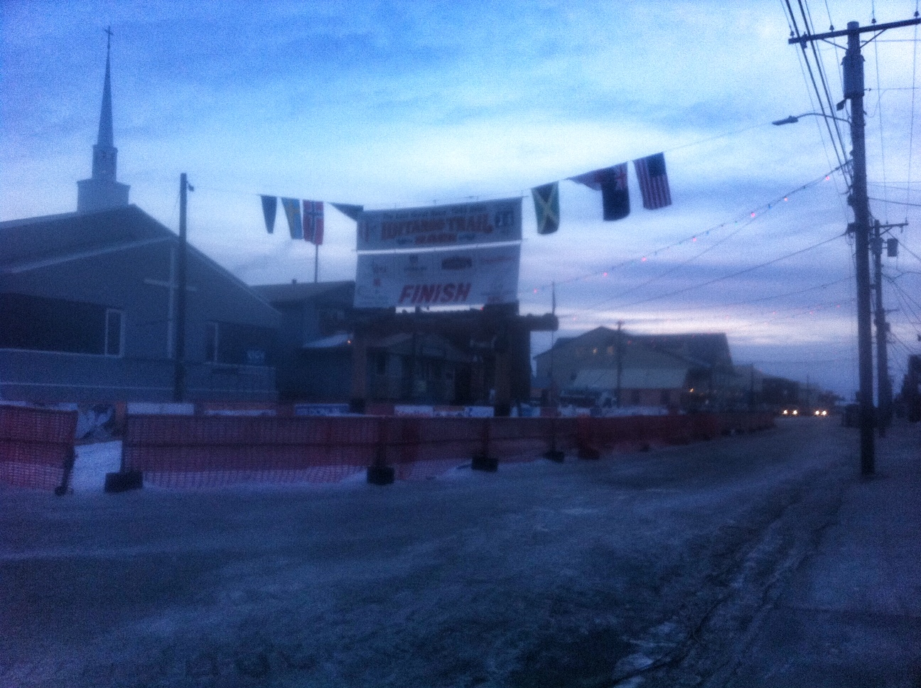 The Finish line and burled arch in Nome.