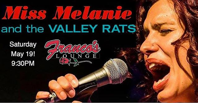 TONIGHT Miss Melanie & the Valley Rats bring sexy rhythm and blues to our stage at 9:30PM. Miss Melanie and the Valley Rats specialize in all aspects of the blues, as well as performing roots, soul and New Orleans infused grooves. Come groove with us! $10 cover. Make your dinner reservations in advance, call Franco's at: 570-327-1840.  #Francos #homemadepasta #homemadebread #FrancosLoungePA #Williamsport #italiancuisine #italianfood #italian #restaurant #italiantestaurant #drinkeatrelax #FrancosLounge #downtownWilliamsport @williamsportpa #food #eats #dinner #drinks #goodtimes #letseat #Pennsylvania #LIVEmusic #music #musicians #MissMelanieAndTheValleyRats www.francoslounge.com