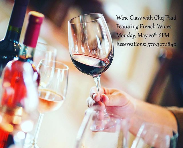 Join us for our next wine class with Chef Paul — French 🇫🇷 🍷 — Monday, May 20th!  This month we're featuring special wine varieties from the France – the third largest wine-producing country in the world! Learn about the wine varieties you sample while you enjoy a 5 course meal with friends!  Monday, May 20th Doors open at 6PM (cash bar 6-6:30PM) Dinner starts at 6:30 - 5 courses - menu to be announced.  French wine varieties  Coffee $55 per person + tax + gratuity