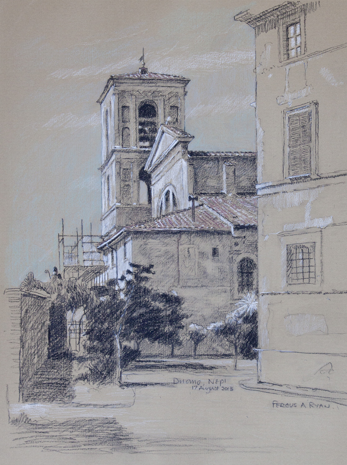 The Duomo At Nepi, charcoal, © Fergus A Ryan, 2013