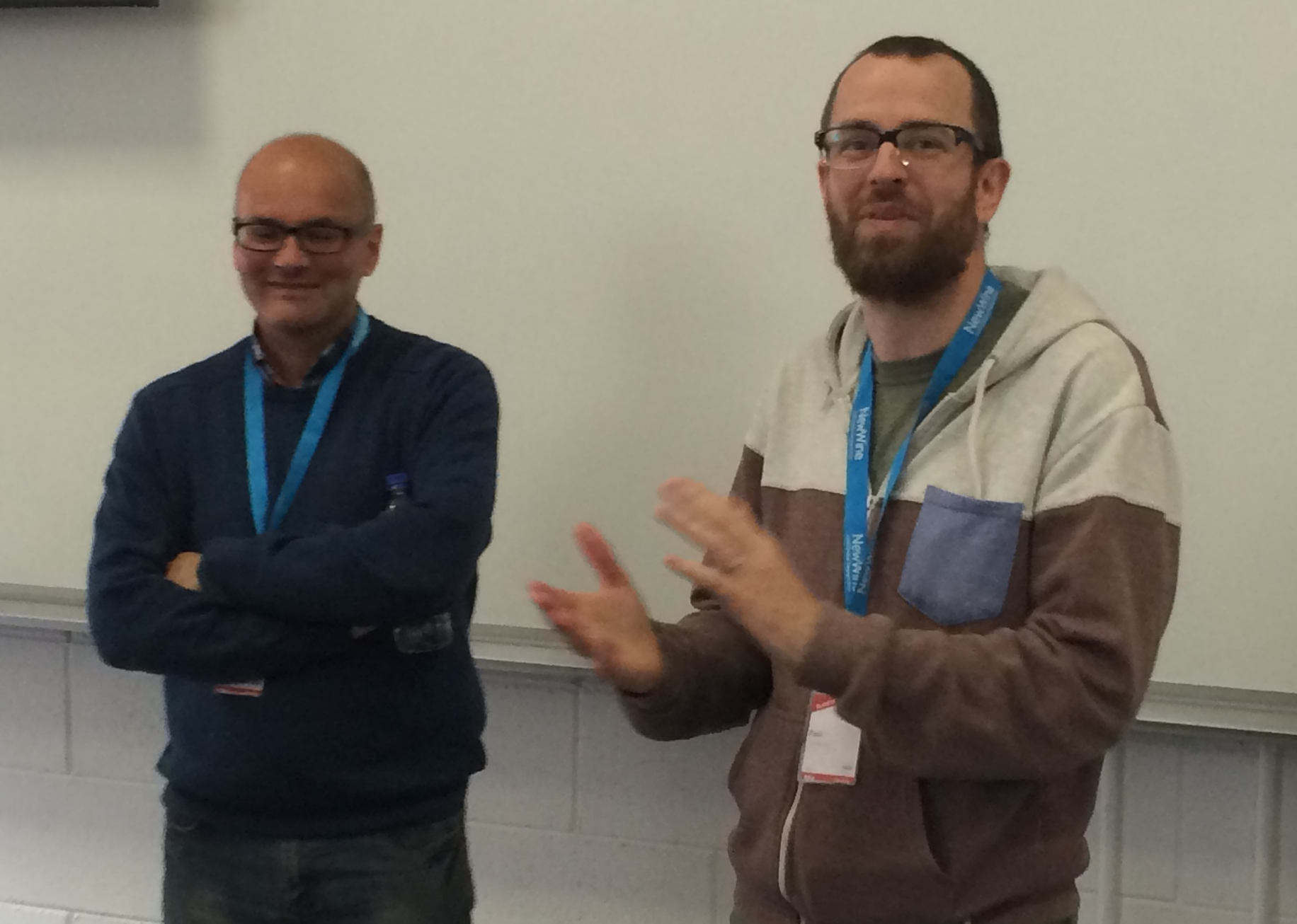 New Wine's Paul Jardine (right) introducing Neil Bennett at the start of his seminar on worship