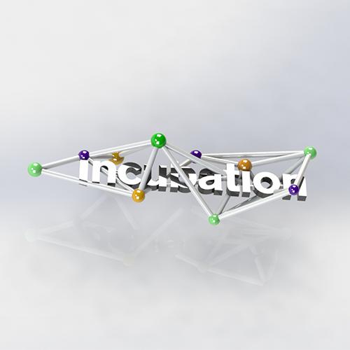 CAD render and 3D print of Ravensbourne Incubation Logo