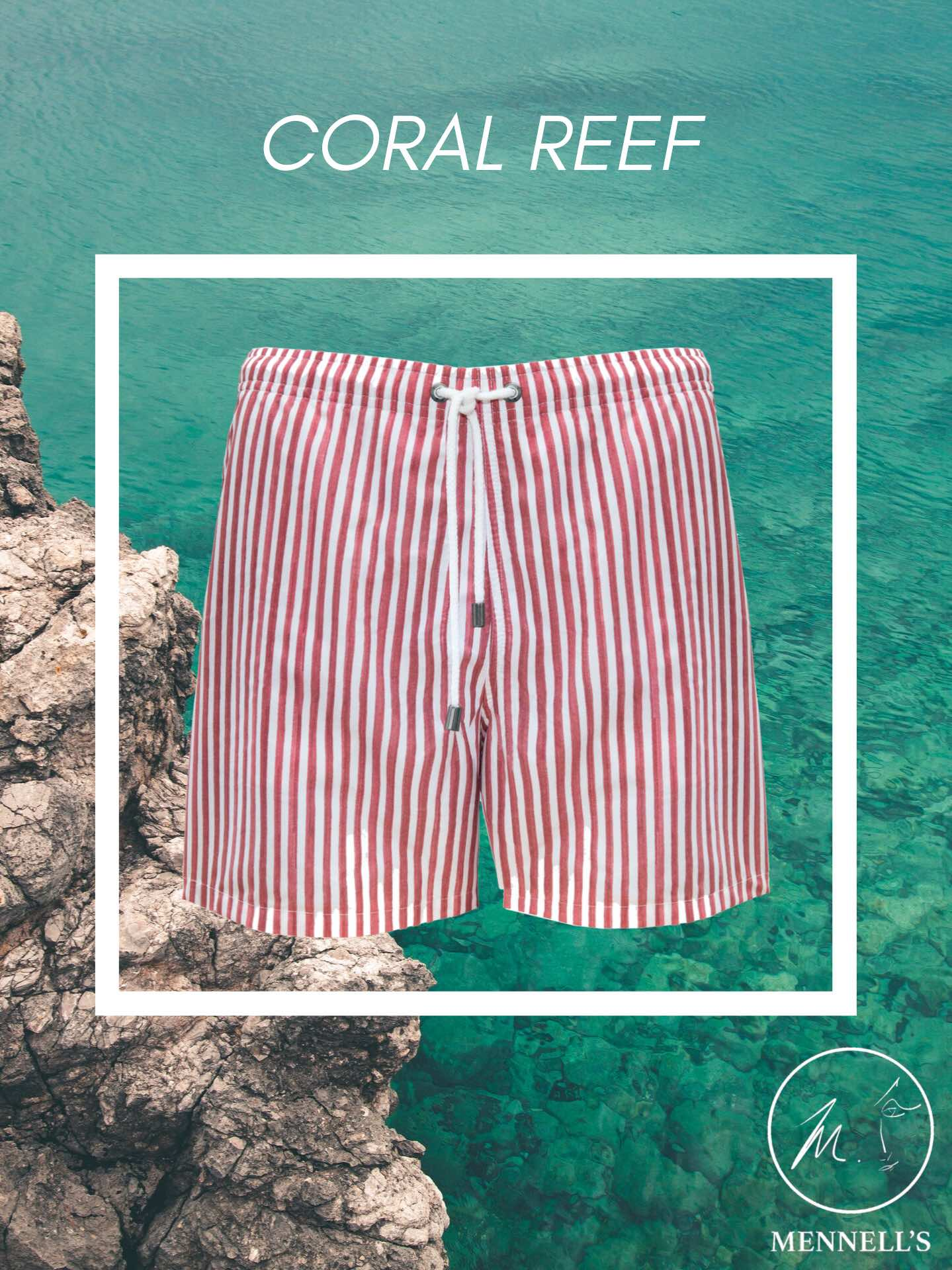 Red Striped Swim Trunks