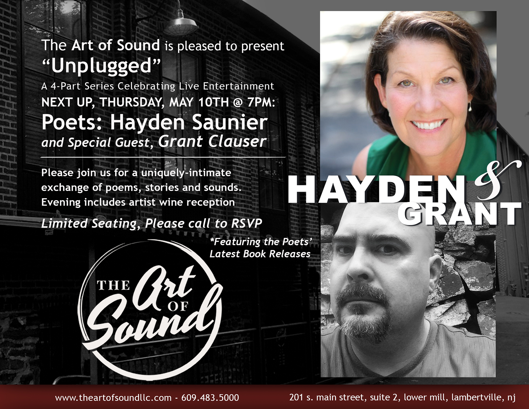 Don't miss the next performance, featuring Poetry Readings by Hayden & Grant, May 10th!