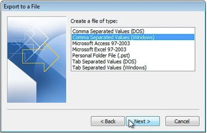 export-outlook-csv