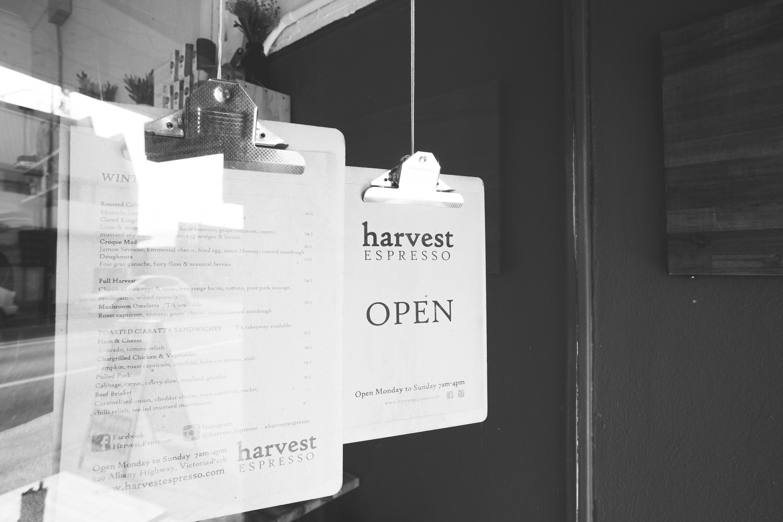 welcome to harvest espresso