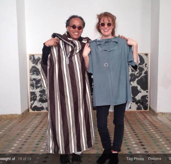 Chinese artist Juan Shun with Gingerwink Films' Georgie Weedon modelling our Marrakech purchases.