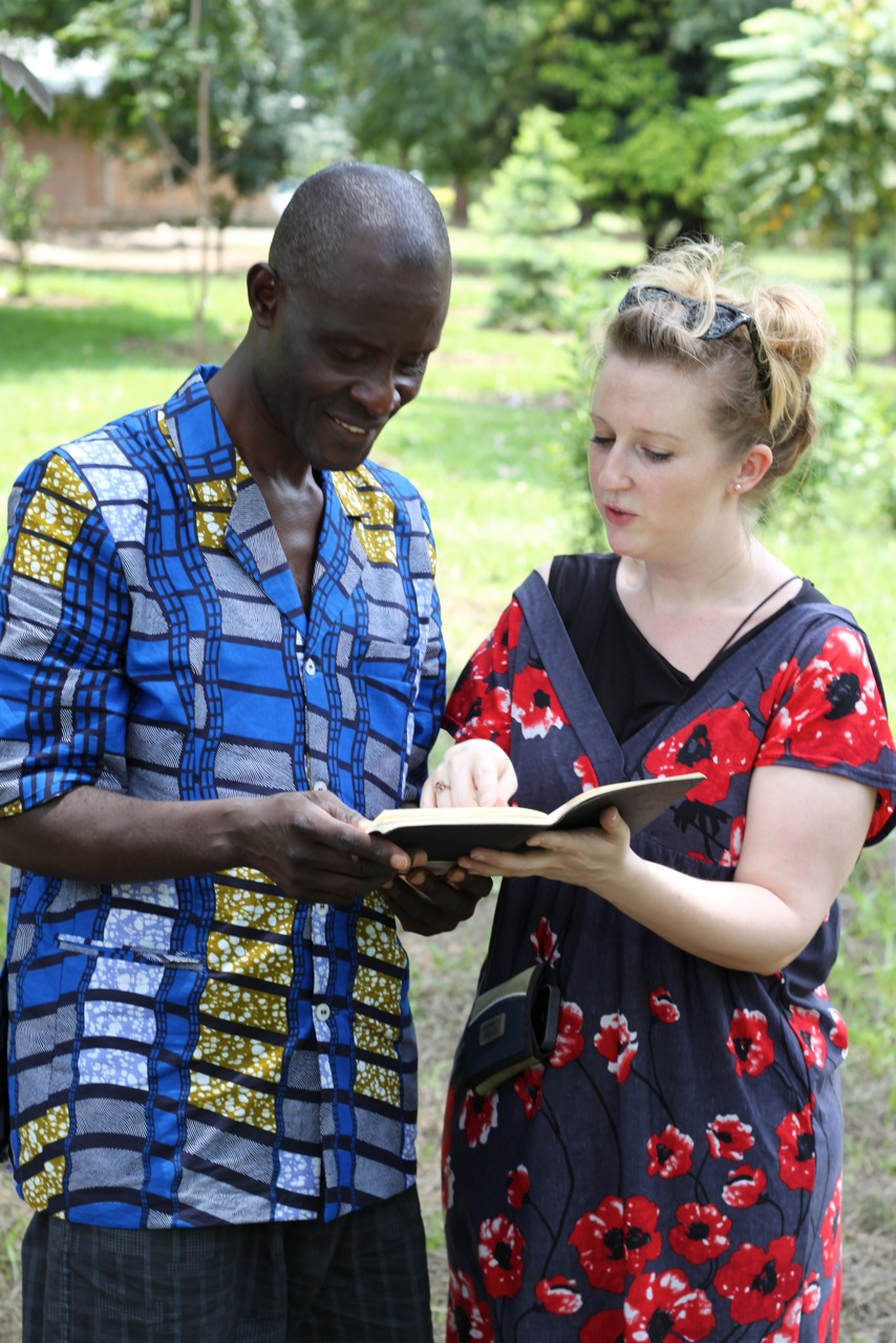 Susannah Tresilian with Jean from Theatre et Reconciliation, Bujumbura, Burundi