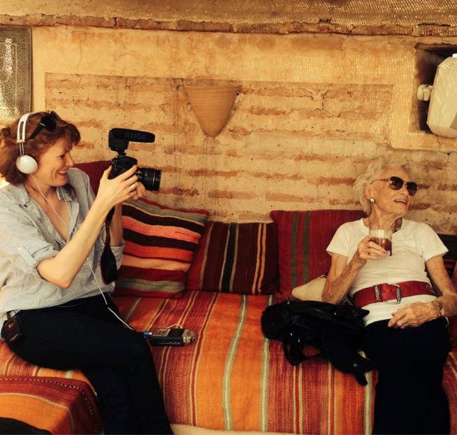 Behind the scenes: Georgie Weedon filming Eve Branson at Riad el Fenn, Marrakech, 2014