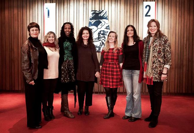 L – R: Frédérique LeComte, Iman Aoun, Hope Azeda, Dijana Milošević, Susannah Tresilian, Ruwanthie de Chickera and Georgie Weedon