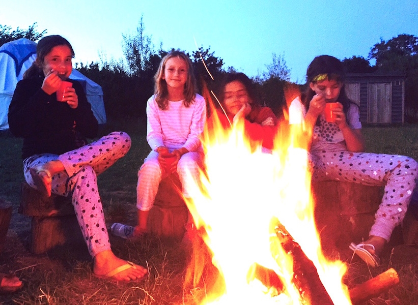 hot chocolate and songs round the campfire and a chance to reflect on a fun first day of camp!