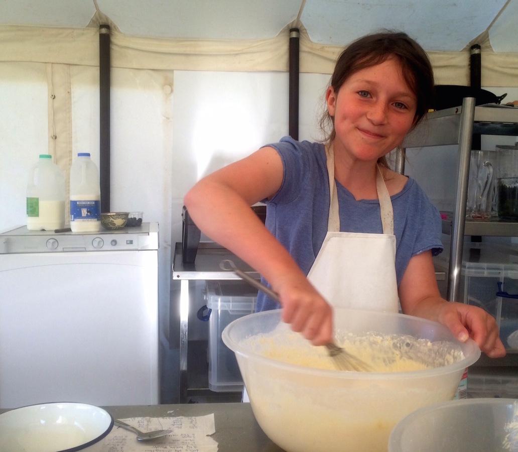 preparing the pancake batter