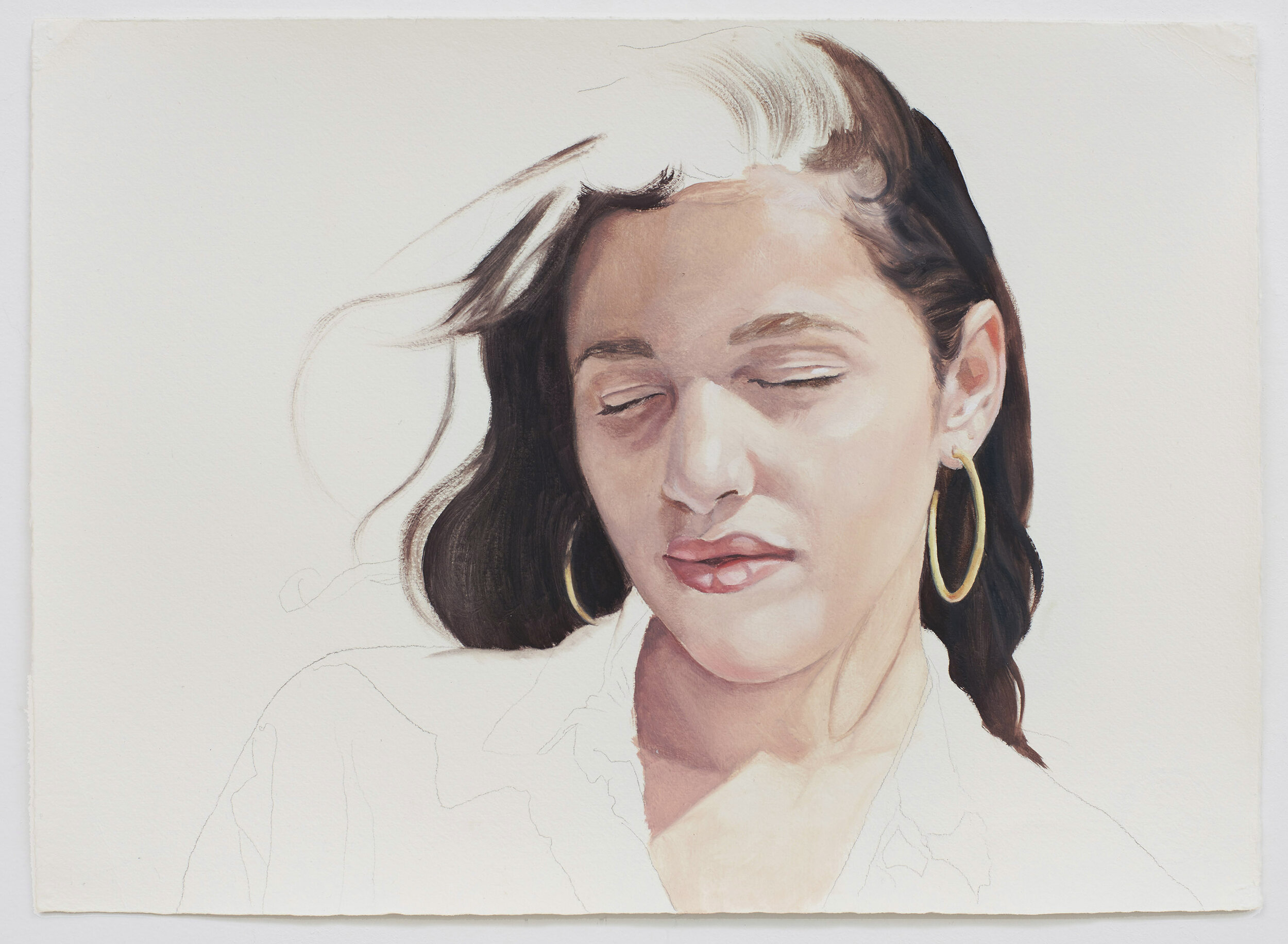 Sarah Kurz, I Take You Along, 2019, oil on paper, 11 x 15 1/4 inches