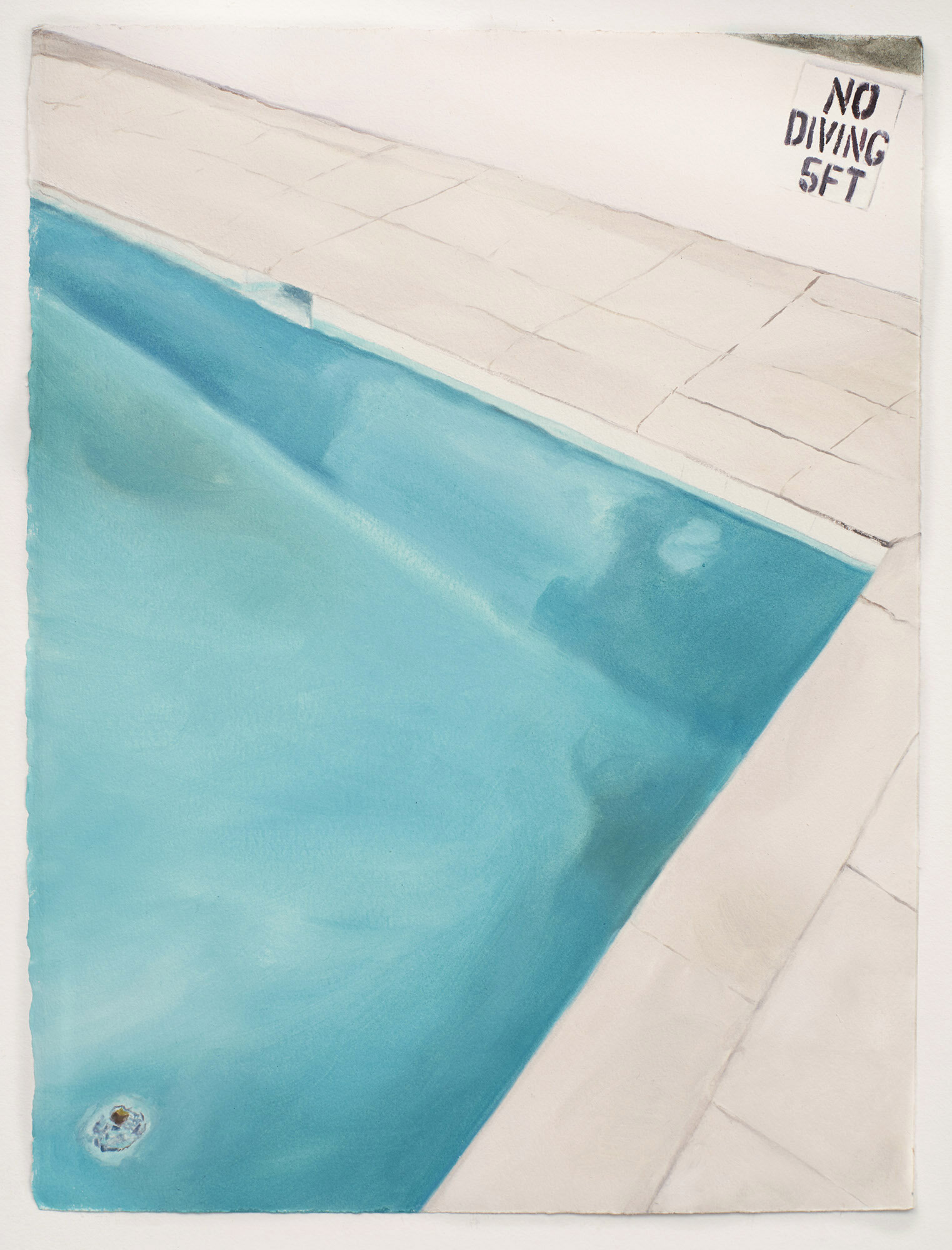 Sarah Kurz, No Diving, 2019, oil on paper, 15 x 11 1/4 inches