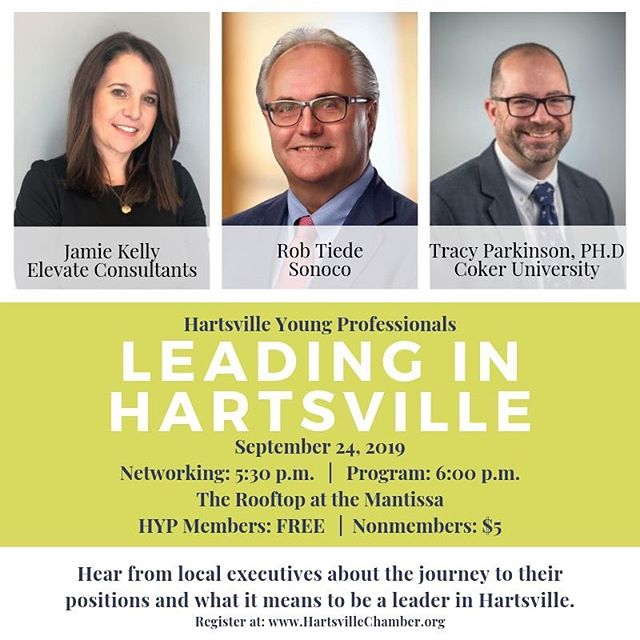 Register today! Please submit any questions that you will have for the speakers by September 19th by 12:00pm. Email: hartsvilleyoungprofessionas@gmail.com