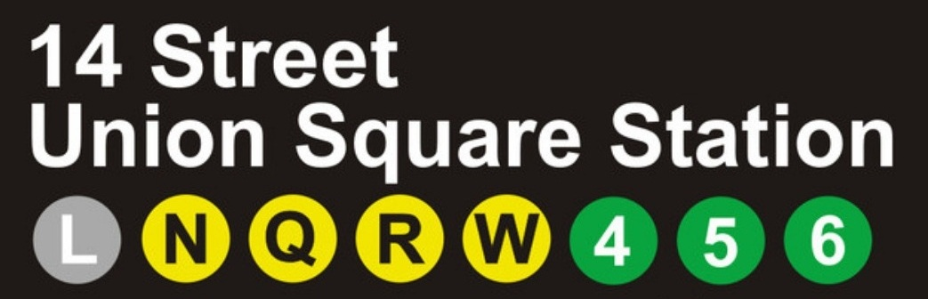 Image of all of the subway lines that come into Union Square NYC