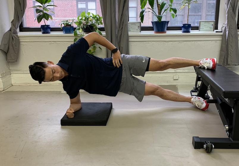 Copenhagen Planks, Straight Leg with Lower Leg Assist