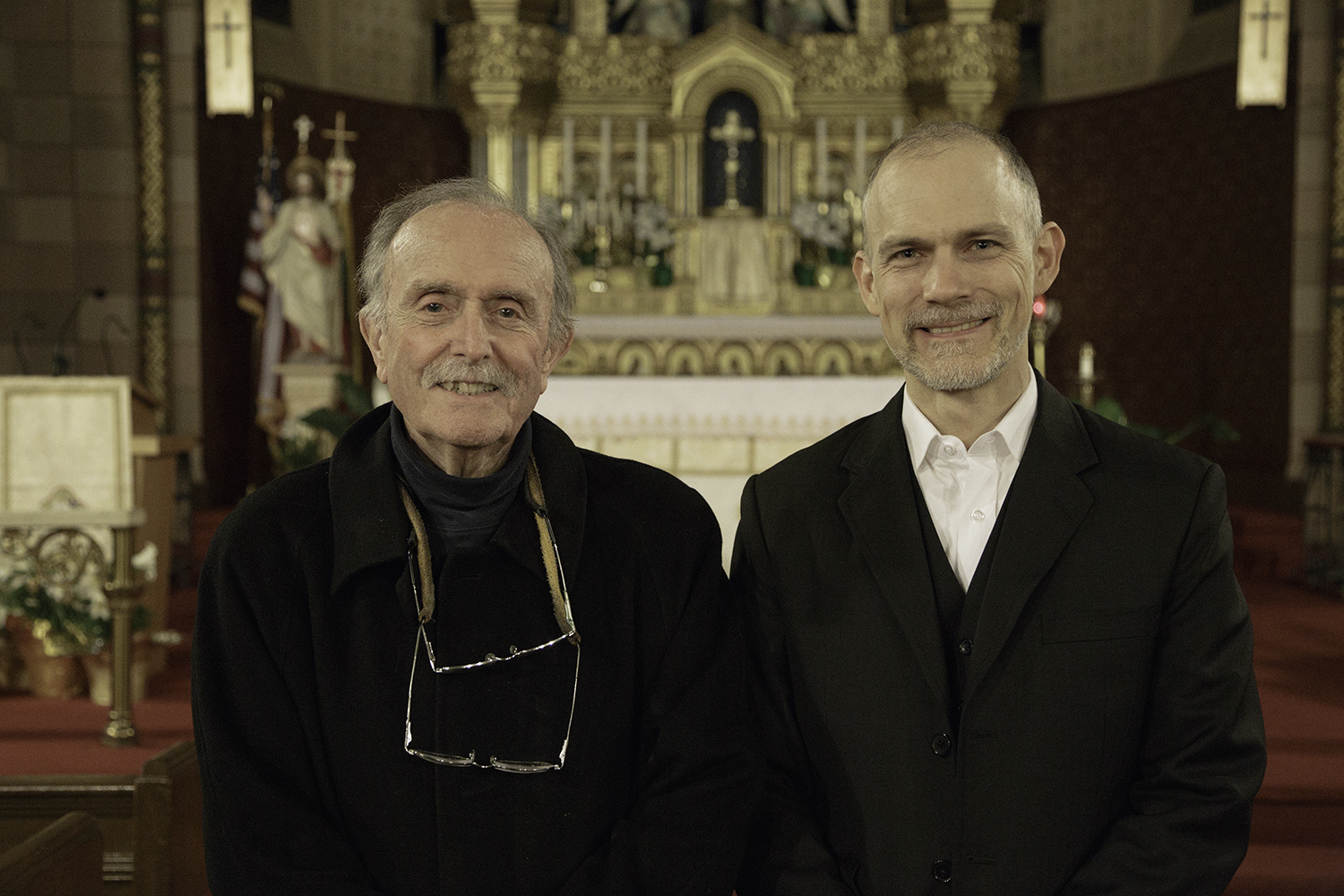 Alvin Lucier (L) with Craig Shepard. Photo by  Beth O'Brien .